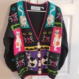 Vintage cat sweater oversized